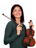 Beautiful girl with violin Stock Photo