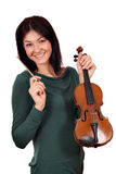 Beautiful girl with violin Royalty Free Stock Photo