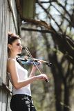 Beautiful girl with a violin in his hands Royalty Free Stock Images