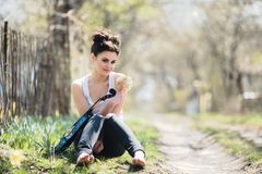 Beautiful girl with a violin in his hands Stock Photo