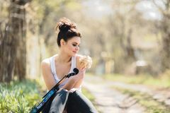 Beautiful girl with a violin in his hands Stock Images