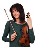 Beautiful girl with violin portrait Stock Photo