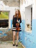 Beautiful girl with violin Royalty Free Stock Photos