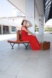 Beautiful girl wainting at railway station Royalty Free Stock Photography