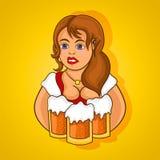 Beautiful girl a waiter with three mugs of beer. Vector, cartoon Stock Photo