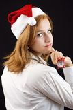 Beautiful girl waiting for New year Stock Photography