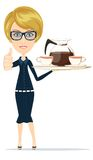 Beautiful Girl Waitress Carries giving the thumbs Royalty Free Stock Photos