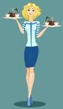 Beautiful Girl Waitress Royalty Free Stock Photo