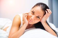 Beautiful girl wake-up Stock Photo