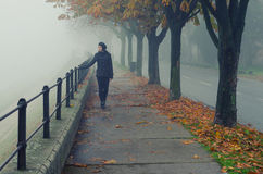 Beautiful girl walking alone on pedestrian walkway in autumn. Beautiful girl walking alone on pedestrian walkway beside river on misty autumn day Stock Images