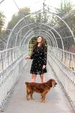 A beautiful girl is walking with a dog over the bridge royalty free stock photos