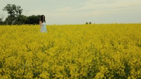 Beautiful girl walking in the field of yellow flowers. Smiles and laughs. A beautiful young girl dressed in a blue dress walks thoughtfully across a field of stock video footage