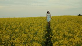 Beautiful girl walking in the field of yellow flowers. Smiles and laughs. A beautiful young girl dressed in a blue dress walks thoughtfully across a field of stock footage