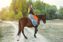 A beautiful girl is walking her horse. Focus on the girl. The warm tone of the image. Soft focus. Royalty Free Stock Photos