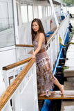 Beautiful girl walking near river Royalty Free Stock Image
