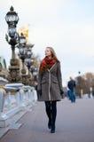 Beautiful girl walking in Paris Royalty Free Stock Image