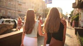 Girl walking on street. Beautiful girl walking on street stock video footage