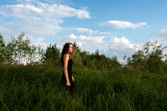 Beautiful girl walks in high grass Stock Photos