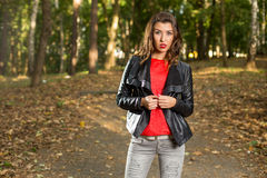 Beautiful girl walks in the woods Royalty Free Stock Images