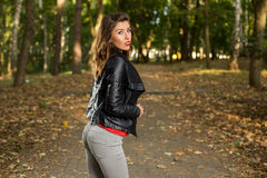 Beautiful girl walks in the woods Royalty Free Stock Photos