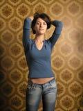 Beautiful girl on wallpapers Stock Photos