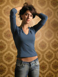 Beautiful girl on wallpapers Royalty Free Stock Photos