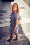 Beautiful girl wandering through Cagliari streets in Sardinia Royalty Free Stock Photography
