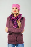 Beautiful girl in warm clothing Stock Images
