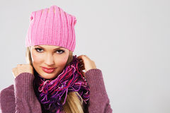 Beautiful girl in warm clothing Royalty Free Stock Images