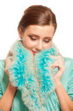 Beautiful girl in warm fur coat with fur Stock Photos