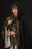 Beautiful Girl warrior in medieval clothes Royalty Free Stock Image