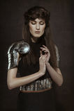 Beautiful Girl warrior in medieval clothes Royalty Free Stock Photo