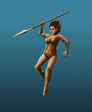 Beautiful girl warrior. Strikes with a spear Stock Image