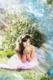 Beautiful girl was blossoming garden Stock Photography