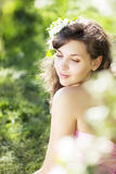 Beautiful girl was blossoming garden Royalty Free Stock Images