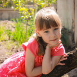 Beautiful girl was leaning on a tree.  Royalty Free Stock Image