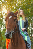 A beautiful girl was walking her horse. Focus on the horse. The warm tone of the image. Soft focus. Stock Image