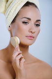 Beautiful girl washes the skin on the face Stock Photo