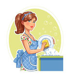 Beautiful girl washing plate. Royalty Free Stock Images