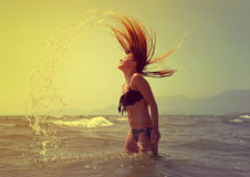 Beautiful girl in the water Royalty Free Stock Photos
