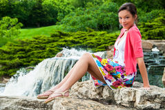 Beautiful Girl at Waterfall Royalty Free Stock Image