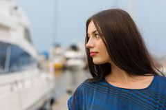 Beautiful girl on the waterfront Stock Photo
