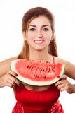 Beautiful girl with watermelon in studio. Isolated on white. Hor. Beautiful girl with watermelon in studio. Isolated on white. Copy space right. Horizontal Stock Photography
