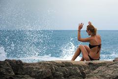 Beautiful girl in wave surf Stock Photos