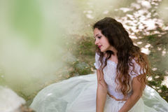 Beautiful girl wear dress like a bride Stock Photography