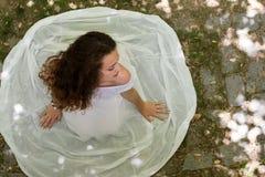 Beautiful girl wear dress like a bride Stock Image