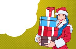Beautiful Girl Wear Santa Costume Hold Gift Box, Merry Christmas And Happy New Year Concept Retro Pop Art Style. Vector Illustration Stock Images