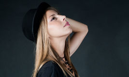 Beautiful girl wearing black hat Royalty Free Stock Photos
