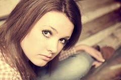 Beautiful girl wearing casual square shirt Stock Photography