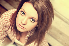 Beautiful girl wearing casual square shirt Stock Images